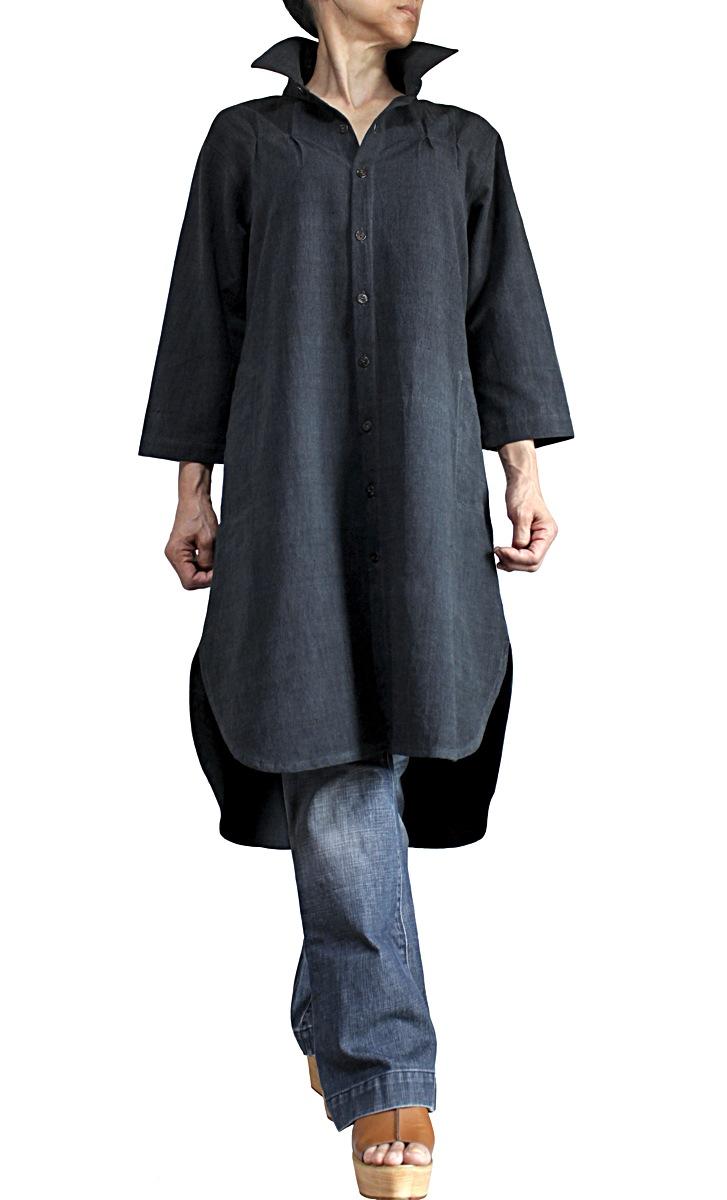 ジョムトン手織り綿のロングチュニックブラウス七分袖(墨黒)