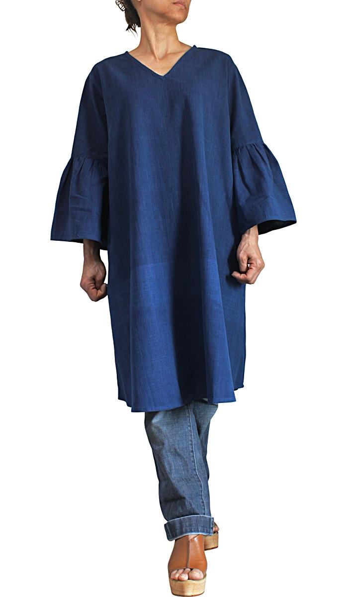 ジョムトン手織り綿ロングチュニック(インディゴ)
