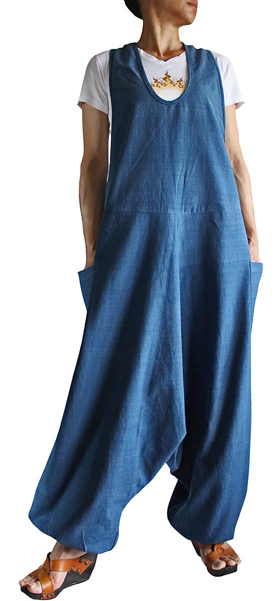 ジョムトン手織り綿アラジンサロペット(インディゴ)