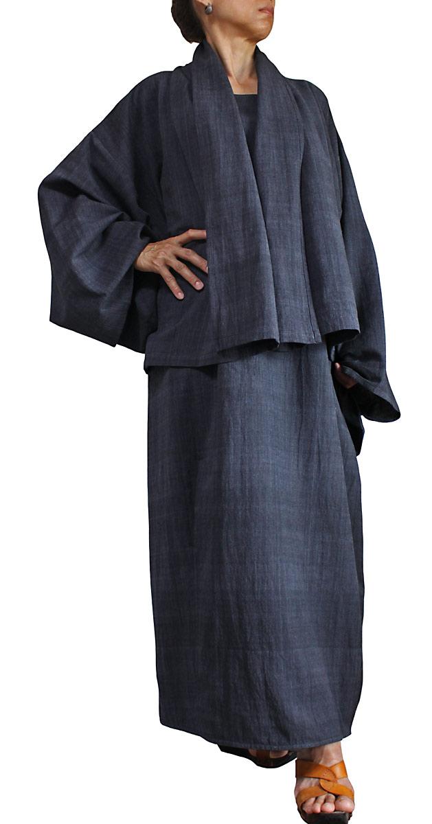 ジョムトン手織り綿の着物ジャケットとワンピースのセット(墨黒)