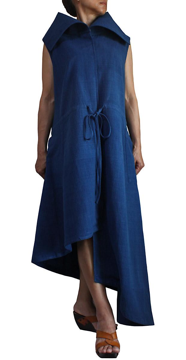 いよいよ人気ブランド ジョムトン手織り綿のノースリーブハイネックドレスアシンメトリー 日本メーカー新品 インディゴ