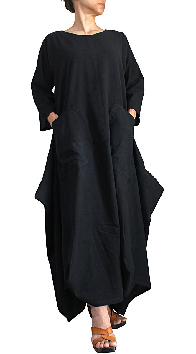 ジョムトン手織綿デザインロングドレス(黒)