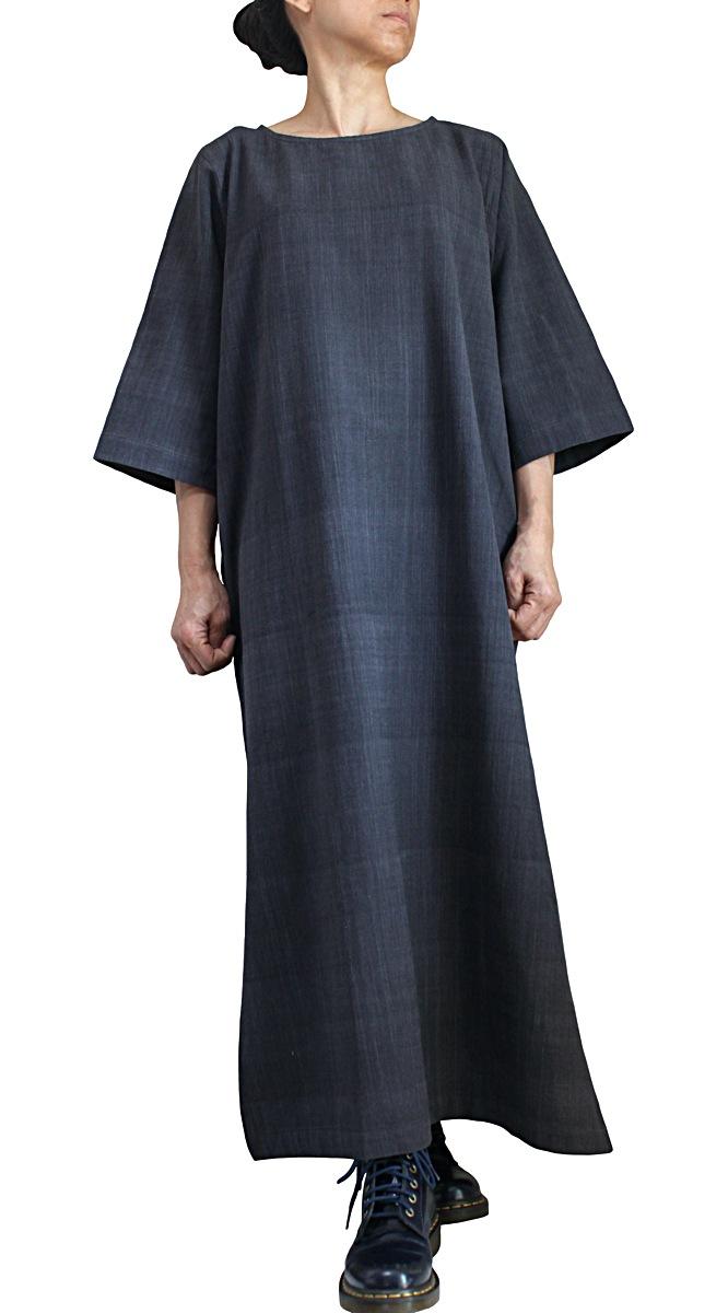 ジョムトン手織綿シンプルロングドレス(墨黒)