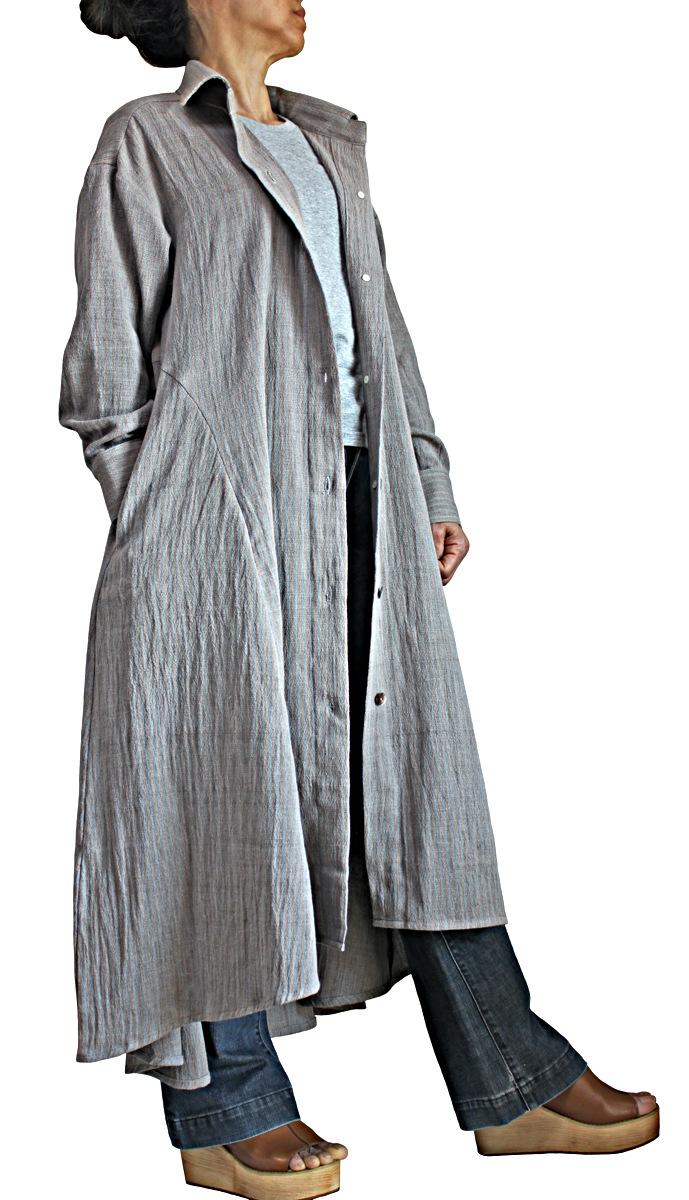 ジョムトン手織り綿天然草木染めシンプルドレスコート