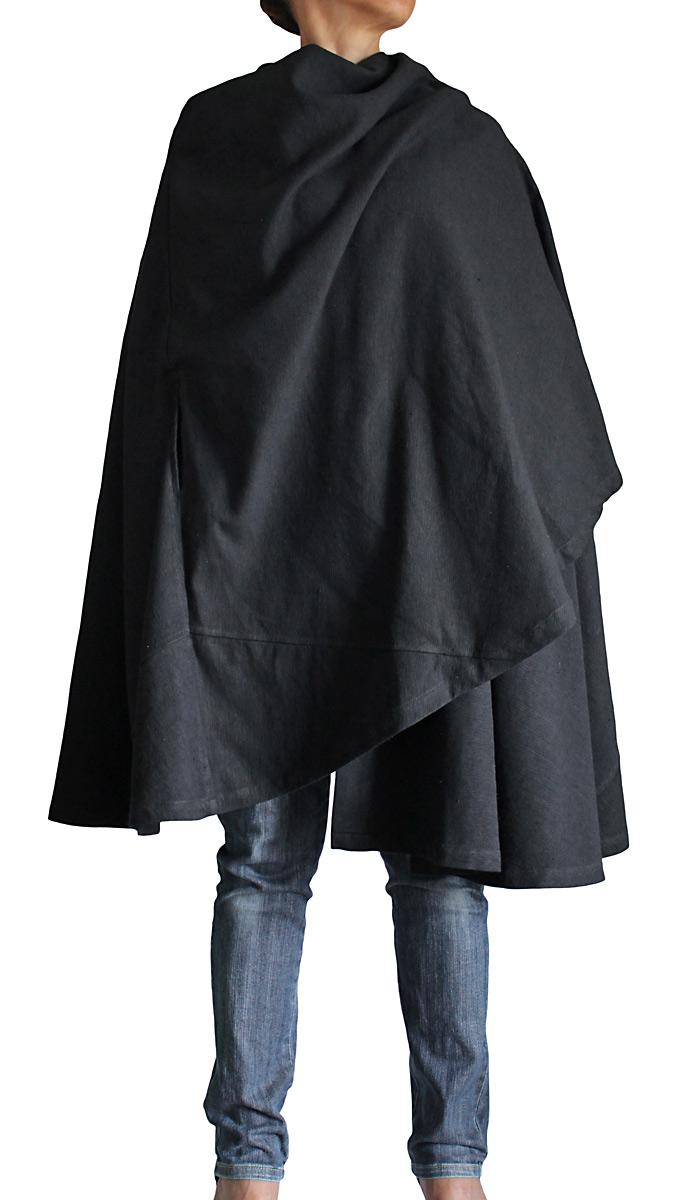 ジョムトン手織り綿フード付きマント(黒)