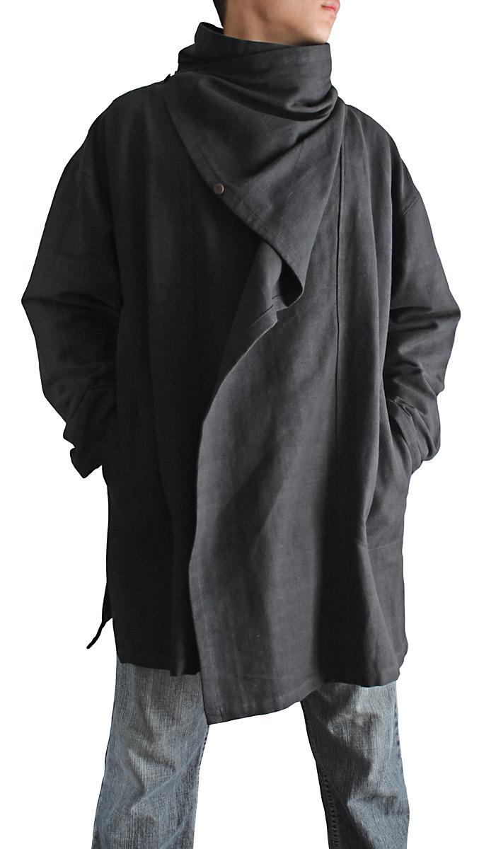 ジョムトン手織り綿マント風デザインジャケット(Mサイズ・黒)