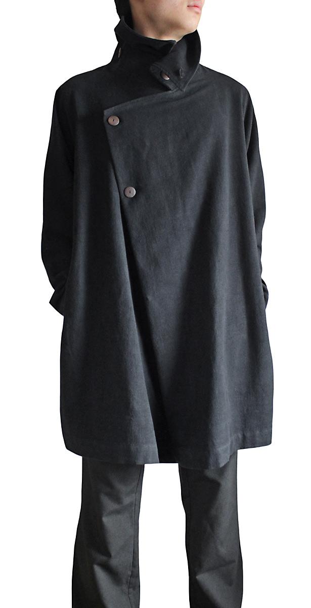 ジョムトン手織綿斜めがけコート(黒/Mサイズ)