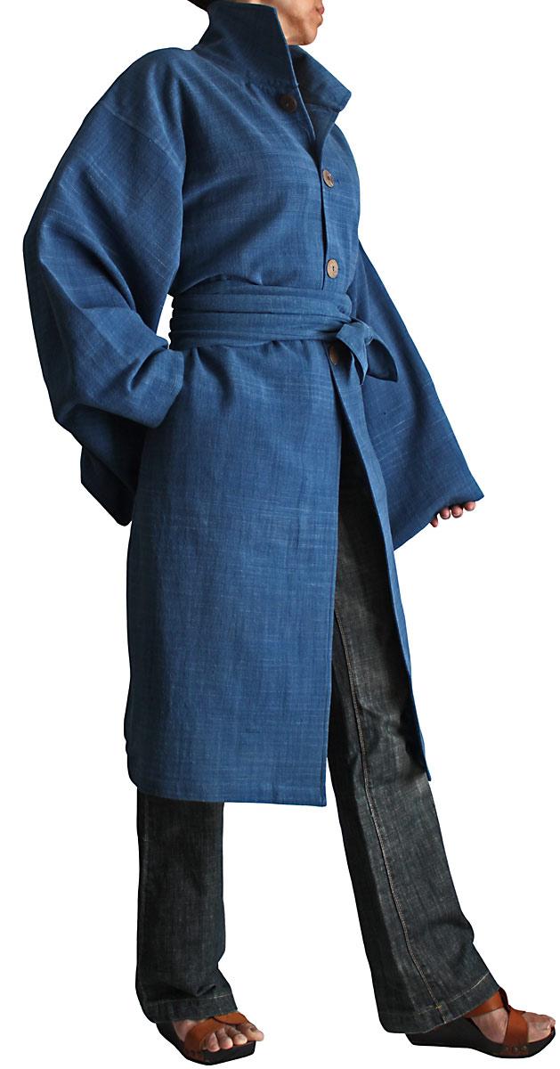 ジョムトン手織り綿着物袖コート腰紐付き(インディゴ)
