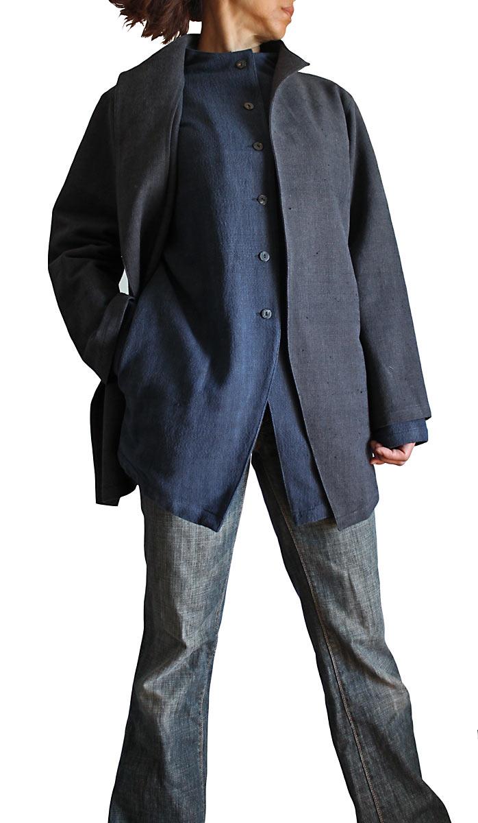 出荷 半額 ジョムトン手織り綿オリエンタルセットアップジャケット インディゴ紺 墨黒