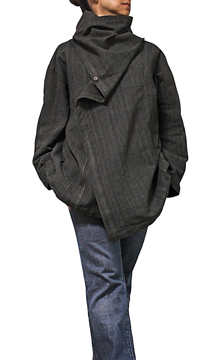 ジョムトン手織り綿マント風デザインジャケット(L・焦げ茶グレー系)
