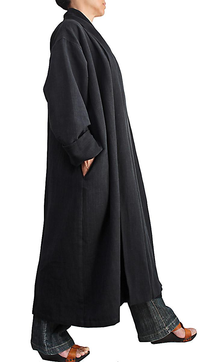 ジョムトン手織り綿のローブコート(黒)