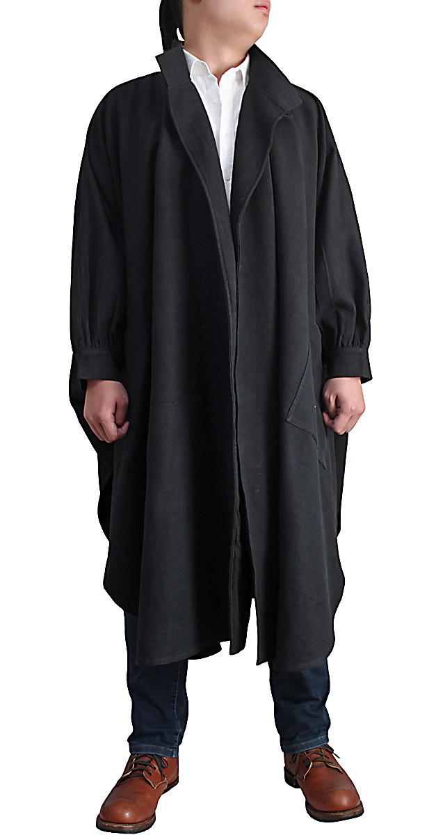 ジョムトン手織り綿ゆったりムササビコート ファクトリーアウトレット 黒 おしゃれ