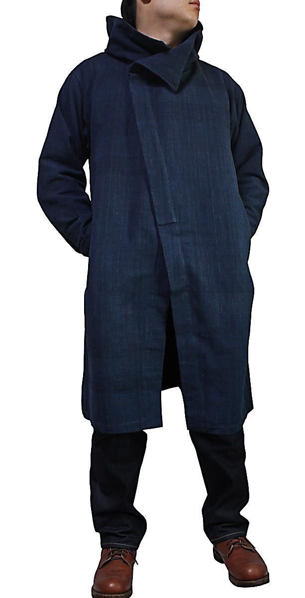 ジョムトン手織り綿フーデッドコート(インディゴ紺)