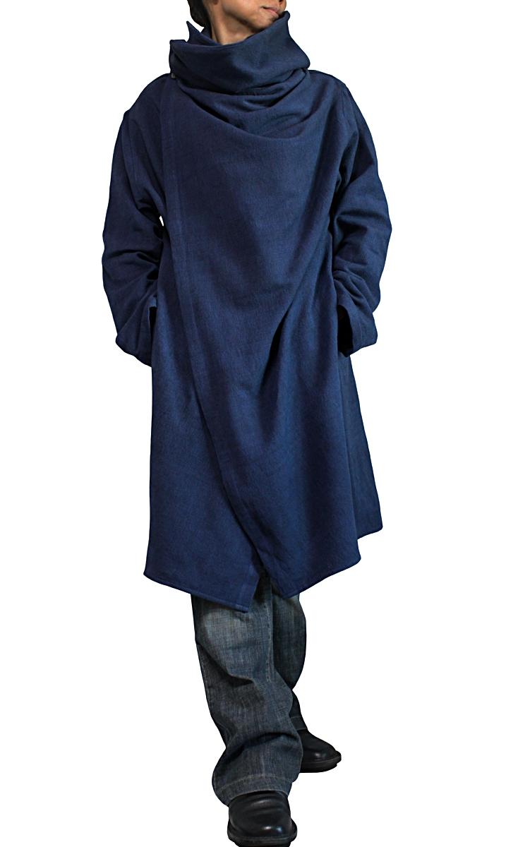 ジョムトン手織り綿コサックコート(インディゴ紺)
