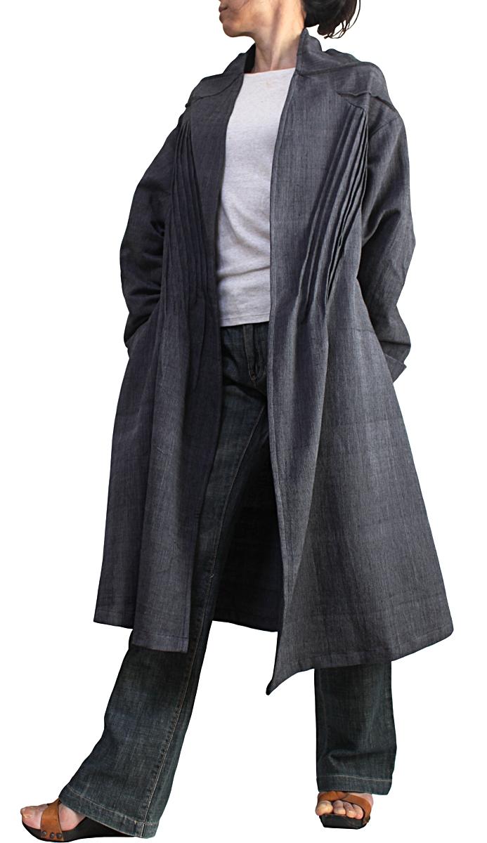 ジョムトン手織り綿の畝使いコート 全国どこでも送料無料 墨黒 新作アイテム毎日更新