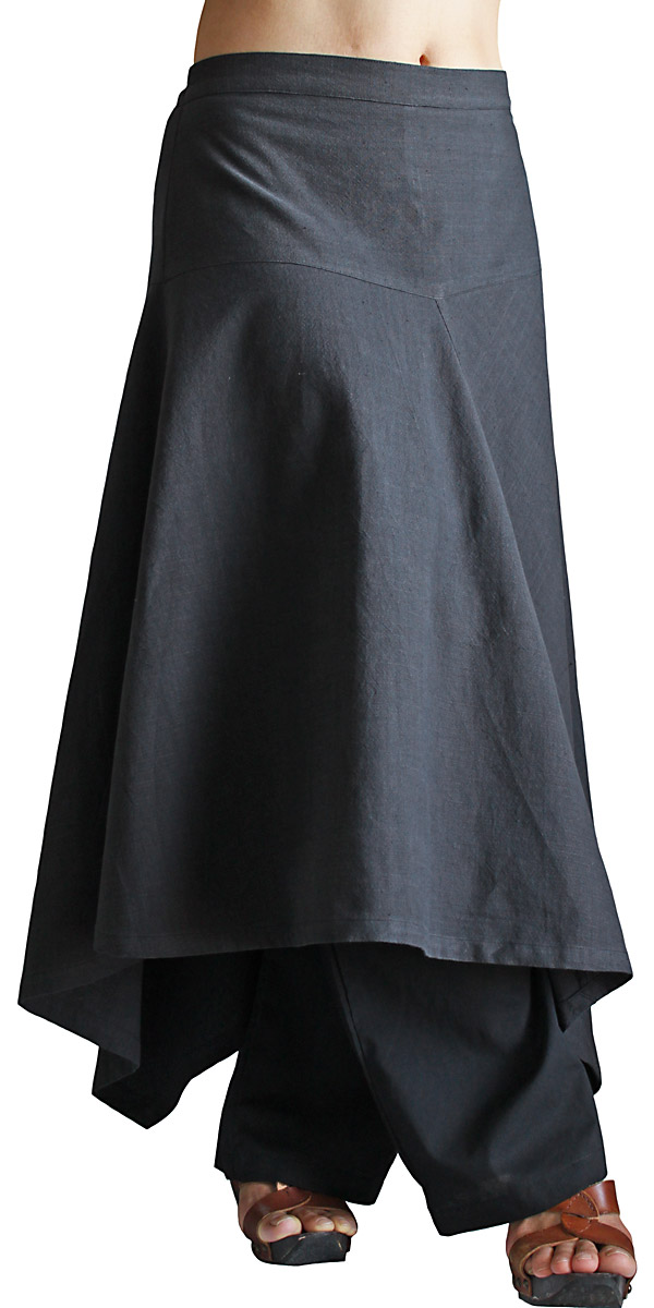 ジョムトン手織り綿のスカートパンツ(墨黒)