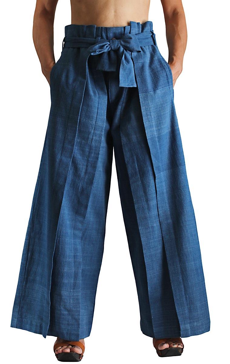 ジョムトン手織り綿の袴パンツ(インディゴ・Mサイズ)