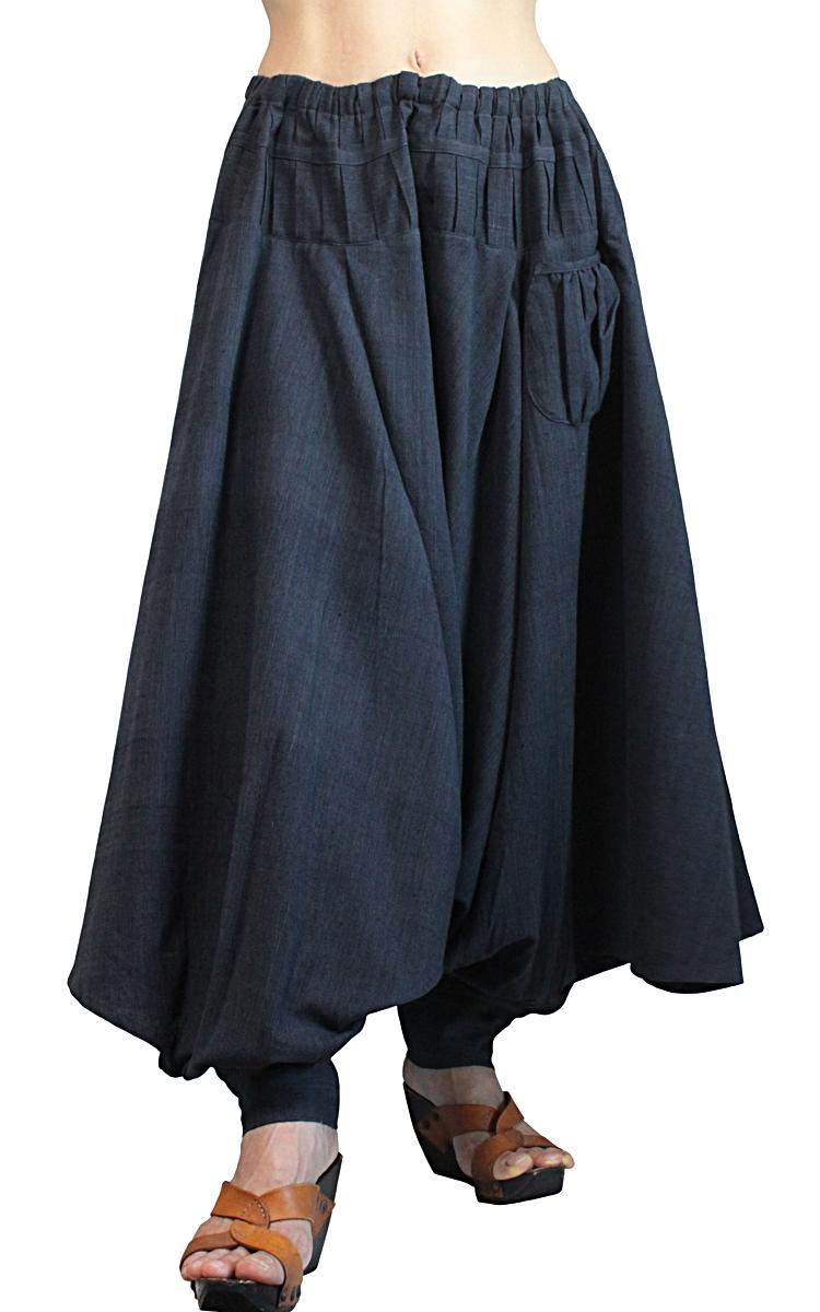 ジョムトン手織綿の埴輪型パンツ(墨黒)