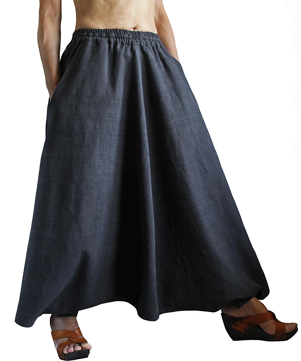 ジョムトン手織綿の埴輪型スカート(墨黒)