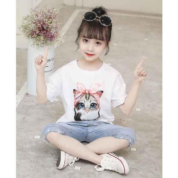 子供服 女の子 半袖 Tシャツ スウェットパンツ 7分丈 半端丈 クール 快適 公式 送料無料 kids02003 実物 かわいい キッズ 上下セット
