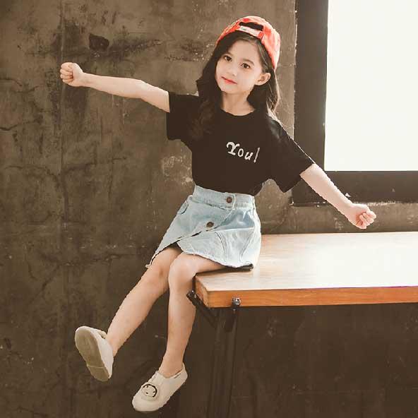 子供服 女の子 半袖 デニムシャツ 市場 デニム スカート キッズ クール 爆売り 快適 かわいい ウエストゴム 楽ちん ジーンズ Tシャツ 送料無料 kids02025 2点セット ボタン 上下セット カジュアル