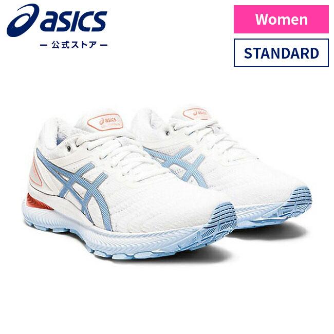 ASICS公式 GEL-NIMBUS 22 STANDARD WHITE BLUE BLISS 1012a587 2020 新作 運動靴 ゲルニンバス ランニング 103アシックス ストア スポーツシューズ レディースランニングシューズ スニーカー