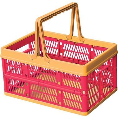折りたたみ式 信託 お見舞い 買い物かご 持ち手がついてスタッキングも出来る 便利なスタッチボックス ピンク スタッチ ボックス