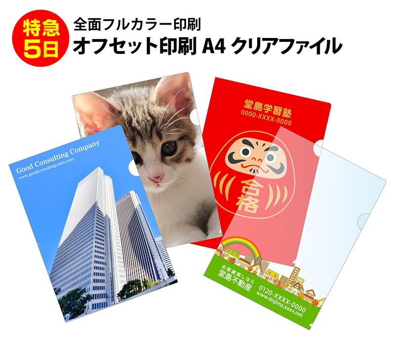 【特急5日】オリジナル クリアファイル フルカラー印刷 A4 (5,000枚セット) オフセット印刷