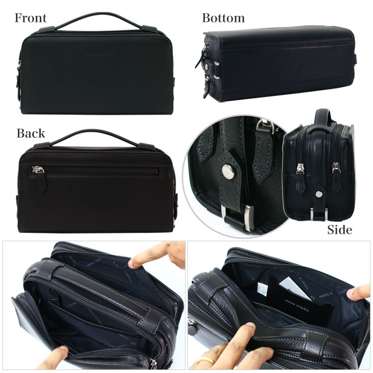 Second bag clutch bag mens mila schon Shon Treno / leather leather lightweight made in Japan bags bag brand ranking presents gift fastener