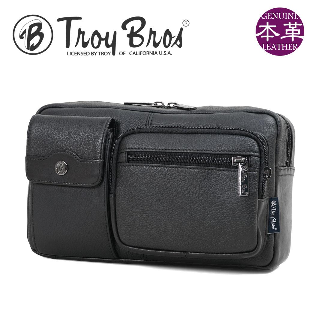 【今すぐ使える割引クーポン発行中!】ボディバッグ Troy Bros(トロイブロス) 本革 A4未満 横型 軽量 ウエストバッグ ウエストポーチ ブランド プレゼント 鞄 かばん カバン bag