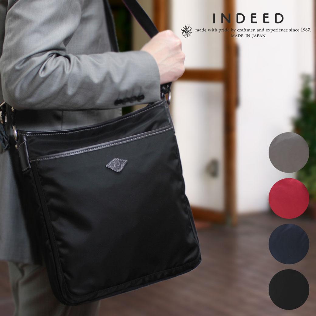 ショルダーバッグ メンズ INDEED インディード aria アーリア 斜めがけバッグ 肩掛け 革付属コンビ A4 縦型 軽量 日本製 メンズバッグ バッグ ブランド プレゼント 鞄 かばん カバン bag 送料無料 海外旅行バッグ
