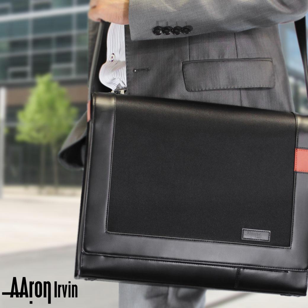 ショルダーバッグ メンズ Aaron Irvin アーロン・アーヴィン Microfiber Business マイクロファイバービジネス 斜めがけバッグ 肩掛け 革付属コンビ A4 軽量 メンズバッグ バッグ ブランド ランキング プレゼント