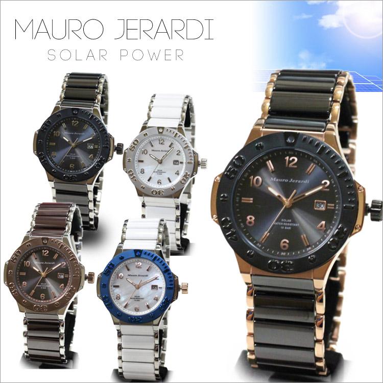 腕時計 Mauro Jerardi ソーラーウォッチ MJ-034マウロジェラルディ メンズ 紳士 腕時計 時計 太陽光 10気圧防水 セラミックベルト 天然ダイヤ 通販