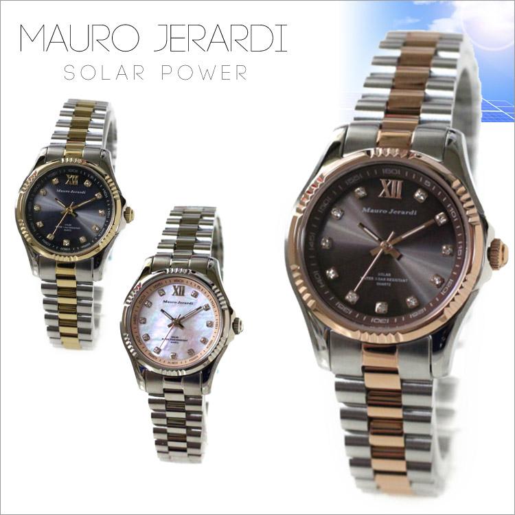 腕時計 Mauro Jerardi ソーラーウォッチ MJ-038マウロジェラルディ レディース 婦人 腕時計 時計 太陽光 ソーラー ビジネス カジュアル 10気圧防水 通販 プレゼント