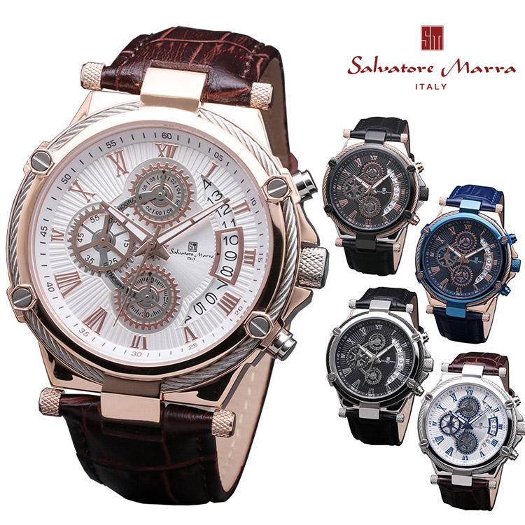 【マラソン限定クーポンあり】腕時計 Salvatore Marra SM18102 メンズ 腕時計 サルバトーレマーラ クロノグラフ 時計 クォーツ レザーベルト ビジネス カジュアル 通販