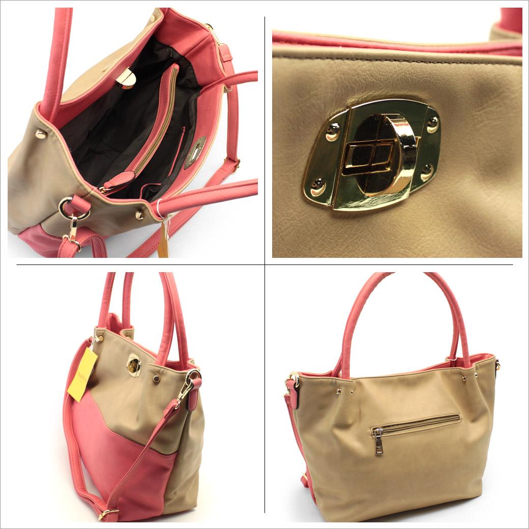 GUSCIO グッシオ shoulder バイカラートート 12-0302 レディーストート bag with shoulder belt commuter school A4 file Packable presents for askaw mail order