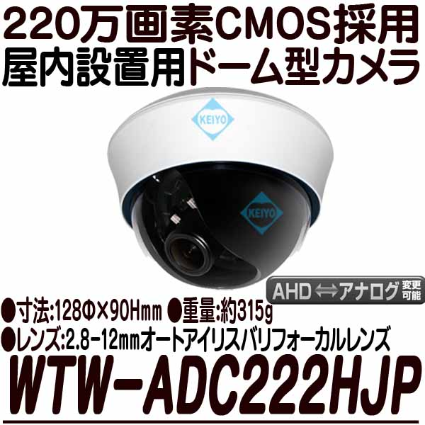WTW-ADC222HJP【AHD2.0方式採用220万画素屋内設置用ドーム型カメラ】 【防犯カメラ】 【監視カメラ】 【送料無料】
