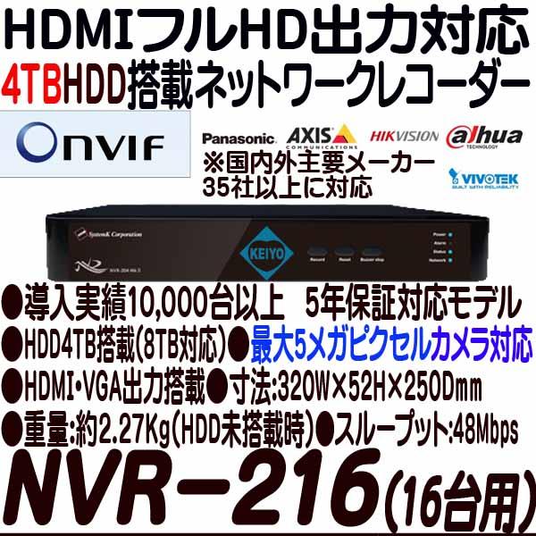 NVR-216-4TB【HDMI出力搭載16台対応ネットワークカメラ用録画機】 【IPカメラ】 【防犯カメラ】【監視カメラ】 【システム・ケイ】 【SystemK】 【送料無料】