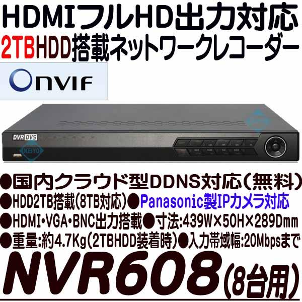 NVR608-2TB【HDMI出力搭載8台対応ネットワークカメラ用録画機】 【IPカメラ】 【防犯カメラ】【監視カメラ】 【グランアイ】 【Grandeye】 【送料無料】