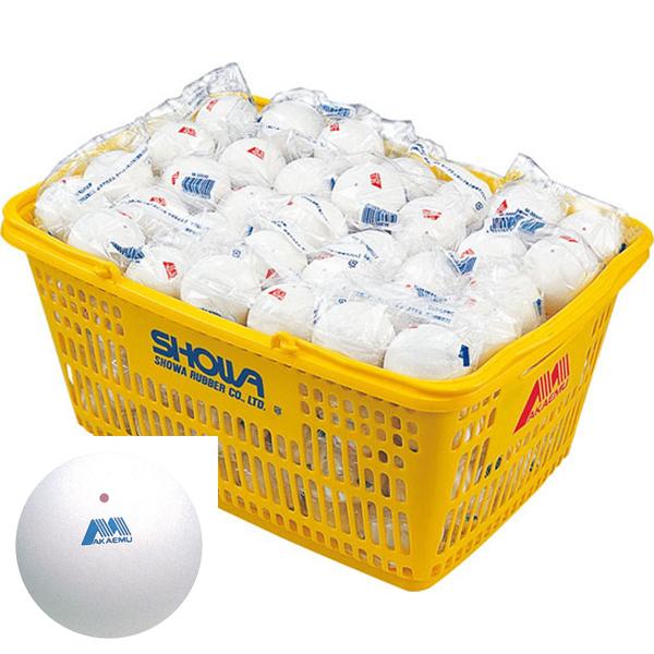 [アカエム] 軟式テニスボール練習球 カゴ入り120球 M40030 ホワイト