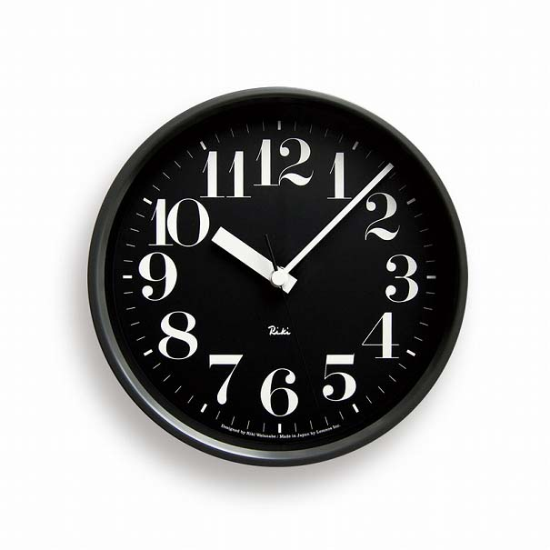 \キャッシュレス5%還元/ 【送料無料】LemnosレムノスRIKI STEEL CLOCKリキスチールクロックWR08-25 BKブラック壁掛け時計電波時計