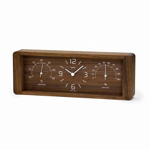 【ポイント最大27倍!7日9:59まで】\キャッシュレス5%還元/ 【送料無料】LemnosレムノスYoKanヨウカンLC11-06 BWブラウン置時計温湿時計