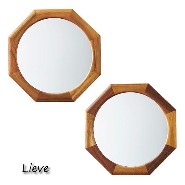 \キャッシュレス5%還元/ INTERFORM Lieve -Octagon- 鏡 ミラー 木 ガラス 壁掛け 八角形 丸型 アンティーク おしゃれ 北欧 可愛い LW-3479