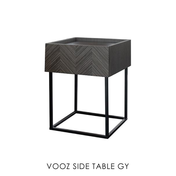\ポイント最大10倍!26日1:59まで/VOOZ SIDE TABLE ヴーズサイドテーブル ナイトテーブル リビング アイアン アンティーク 北欧 おしゃれ 木製 グレー ヘリンボーン スリム 高さ55cm カフェ 小さめ 小さい ミッドセンチュリー 正方形