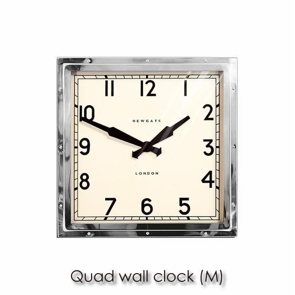 【ポイント最大27倍!7日9:59まで】\キャッシュレス5%還元/ 【送料無料】NEW GATE ニューゲート Quad wall clock (M) 壁掛け時計 時計 壁掛け アンティーク おしゃれ 見やすい インダストリアル 四角 スチール ガラス シルバー TR-4252