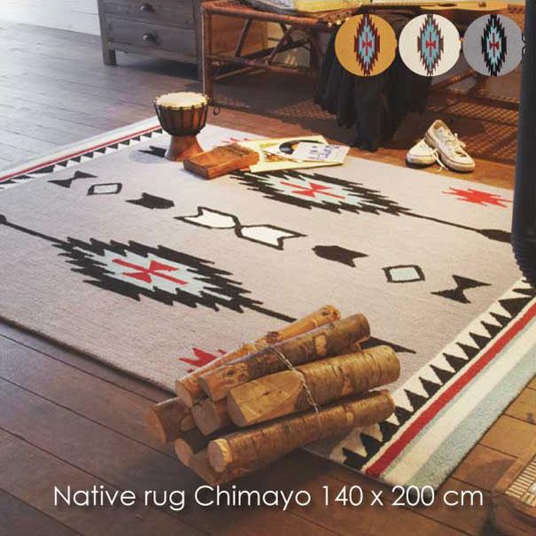 【ポイント最大27倍!7日9:59まで】\キャッシュレス5%還元/ 【送料無料】Native rug Chimayo 140×200cm ラグ マット 絨毯 ホットカーペット 床暖房 グレー オレンジ クリーム ホワイト 白 ネイティブ アメリカ おしゃれ