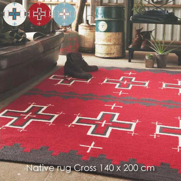 【ポイント最大27倍!7日9:59まで】\キャッシュレス5%還元/ 【送料無料】Native rug Cross 140×200cm ラグ マット 絨毯 ホットカーペット 床暖房 レッド 赤 ブルー 青 水色 ホワイト 白 ネイティブ アメリカ おしゃれ