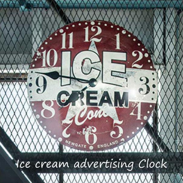 \キャッシュレス5%還元/ 【送料無料】Ice cream advertising Clock クロック アンティーク レトロ おしゃれ NEW GATE ニューゲート デザイン 壁掛け 時計 インテリア 雑貨 掛け時計 掛時計 大きい