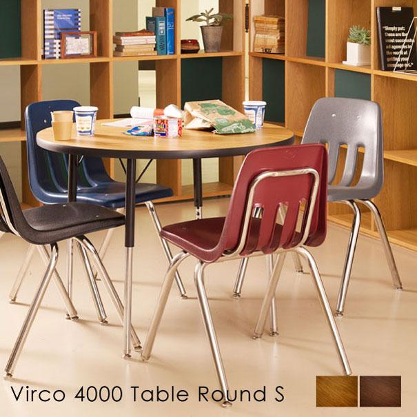 【ポイント最大33倍!16日1:59まで】【送料無料】VIRCO 4000 Table Round(S) ウォールナット オーク 鉄脚 木製