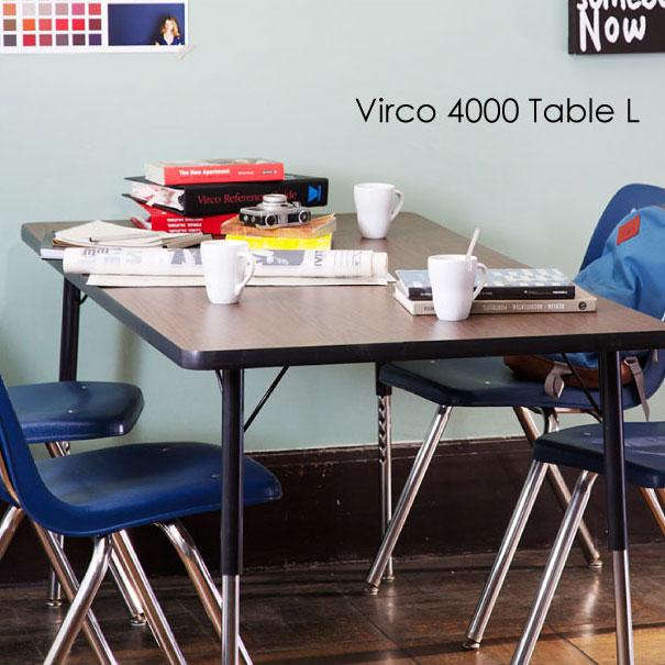 VIRCO 4000 Table(L) ウォールナット オーク ダイニングテーブル テーブル 食卓テーブル 作業台 作業机 高さ調節可 調節可能 什器 鉄脚 木製 アメリカン インダストリアル U.S.A レトロ インテリア おしゃれ ウッド